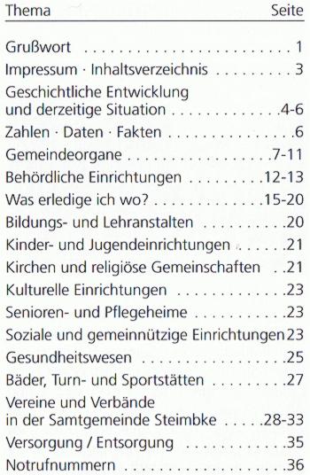 Broschüre SG Steimbke 2008 Inhalt