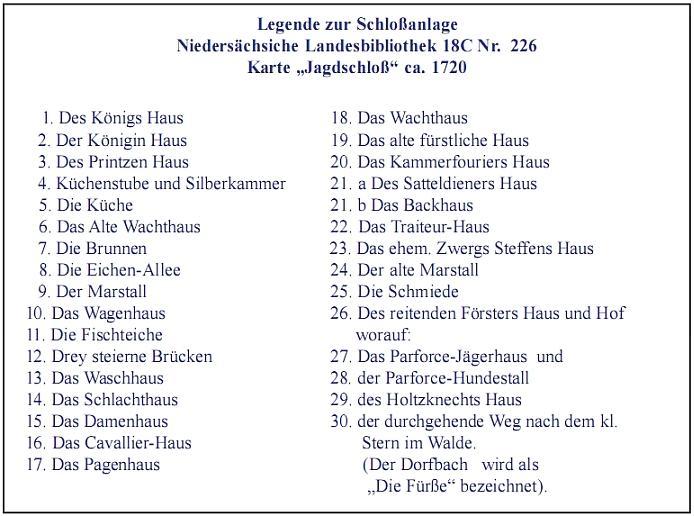 """Bild """"Legende zur Schloßanlage"""""""